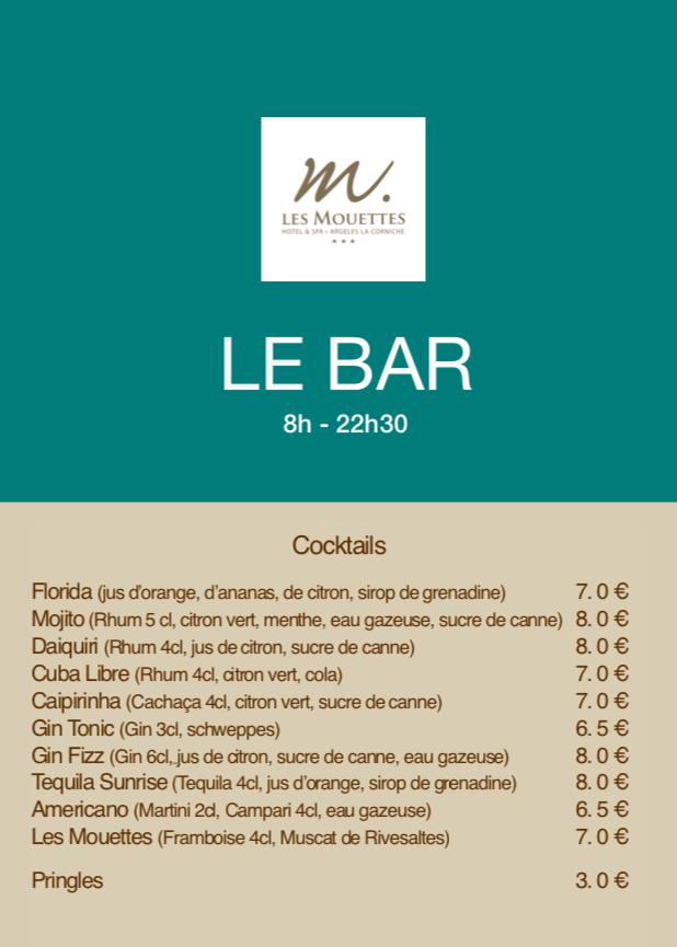 Carte Bar de l'hôtel & Spa Les Mouettes