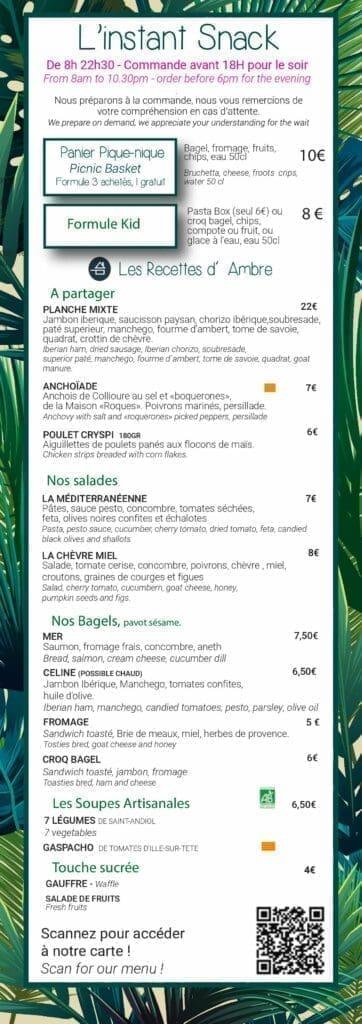 Carte snacking de l'hôtel les mouettes à Argeles-sur-mer