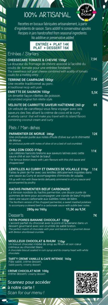 Carte Snacking de l'hôtel Les Mouettes